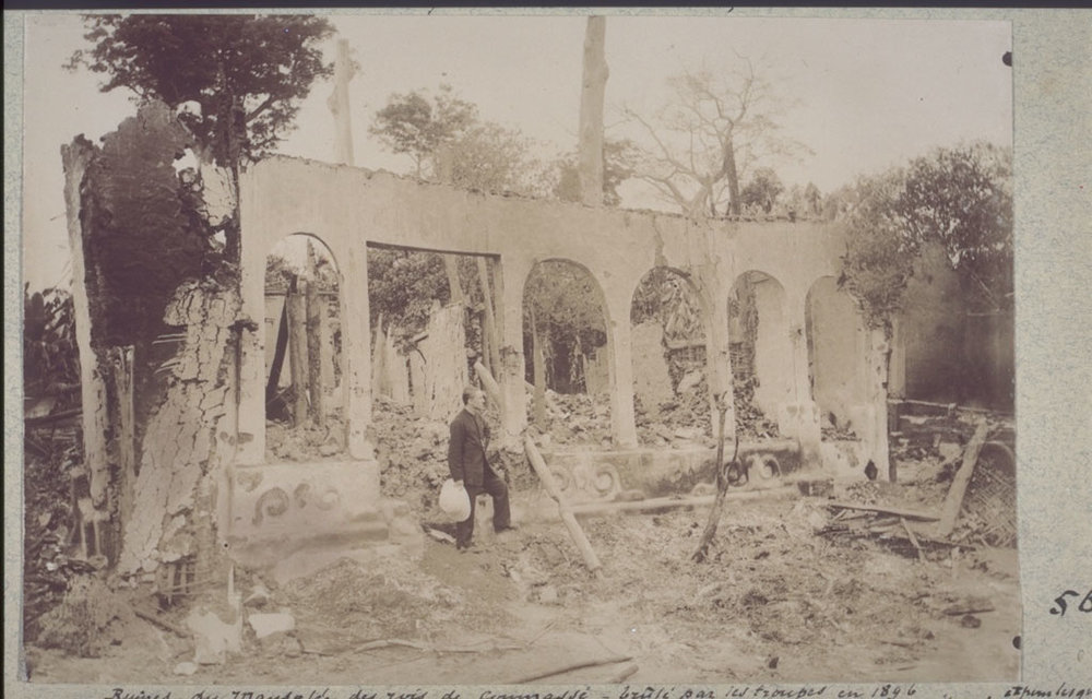 Ruins of the mausoleum where the bones of kings of Kumase, Ghana were kept in individual cells. Destroyed by British troops in 1896.