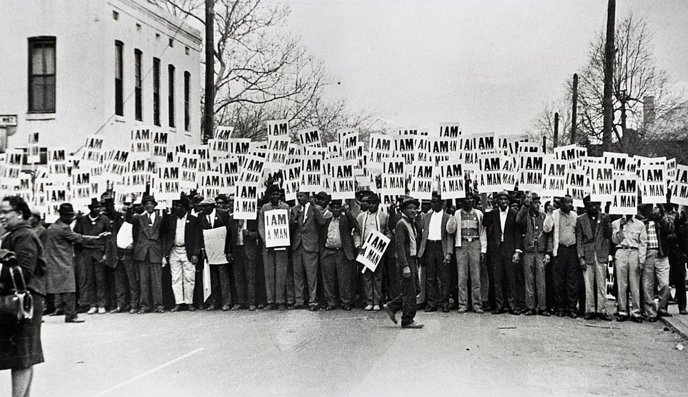 "I Am A Man"" — Photo taken by Ernest Withers of the Memphis Sanitation Worker's Strike in 1968."