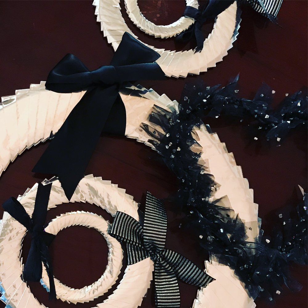 ... Very elegant 'silver and black' themed handmade pieces for a 5 window Christmas installation at Orb Hair and Beauty, New Farm.
