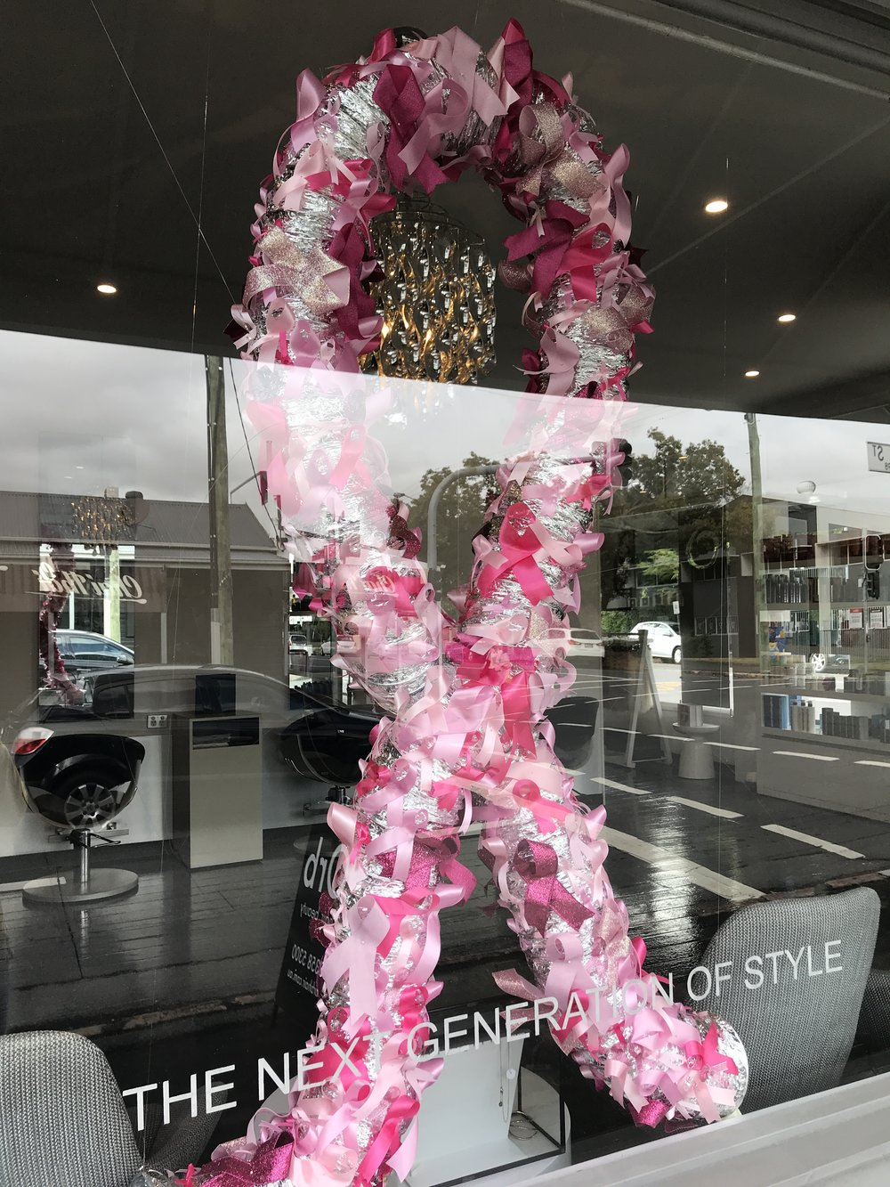 A big beautiful, sparkling ribbon in support of Breast Cancer Awareness Month!