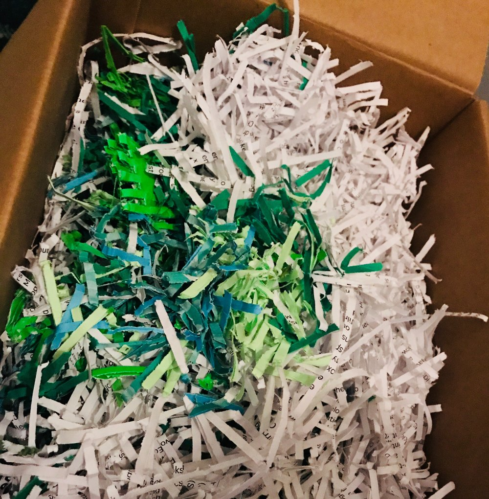 Here is my stockpile of shredded, recycled papers ready for soaking. The ultimate paper should be a spearmint green colour as there were a few green recyclables in this lot!