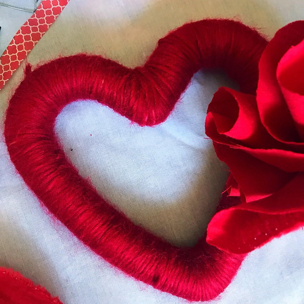 The small heart focal point … lush rich red wool.