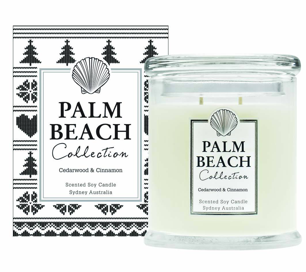 Palm Beach Regular Candle, $37.95 (80 Hour Burn Time)Comes in: Cedarwood & Cinnamon (Christmas special), Coconut & Lime, Ruby Grapefruit, Orange & Bergamot, Tahitian Mango, Blood Orange, Clove & Sandalwood, Honey & Peach Blossom, Fig, Cassis & Mandarin, French Vanilla, Lemongrass, Mint Leaf & Avocado, Patchouli & Musk, Pear and Cinnamon, Sweet Basil & Citrus, Sweet Peach, Wild Peony, Vintage Gardinia and White Rose & Jasmine.
