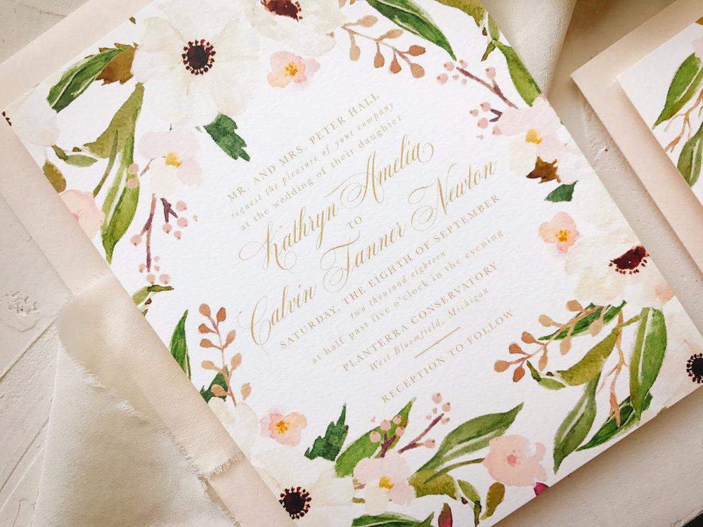 blush gold and ivory wedding invitation