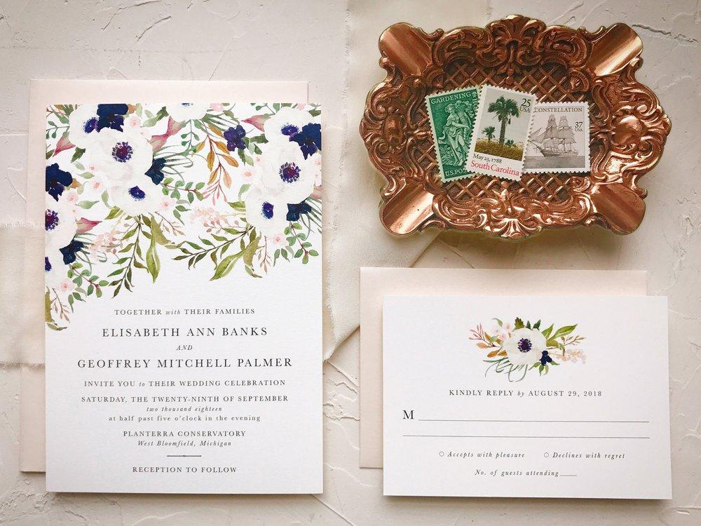 Navy Blush Wedding Invitation