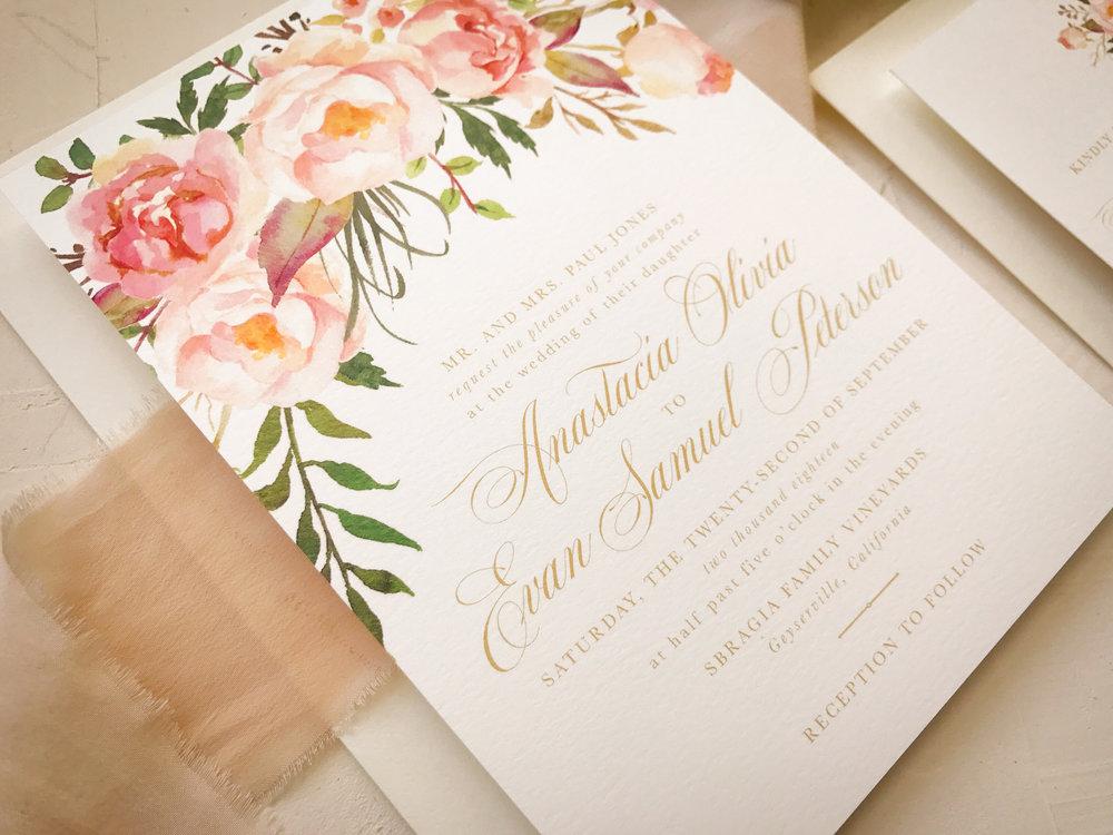 blush gold wedding invitation