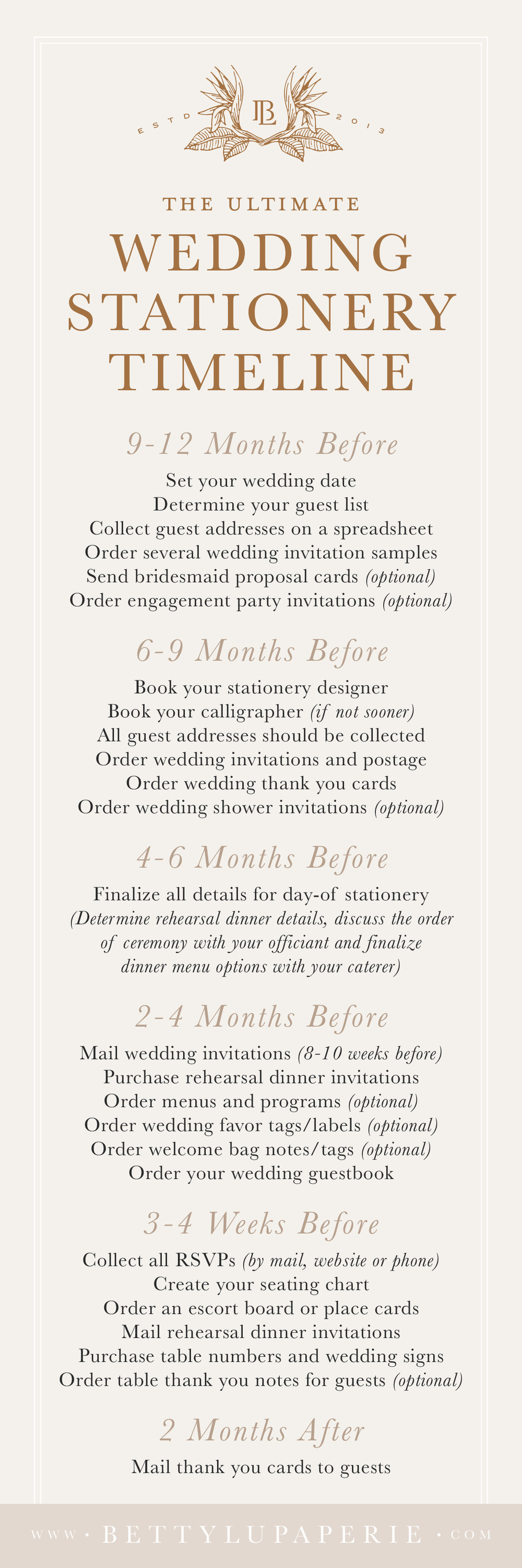 Your Complete Wedding Stationery Checklist Betty Lu Paperie