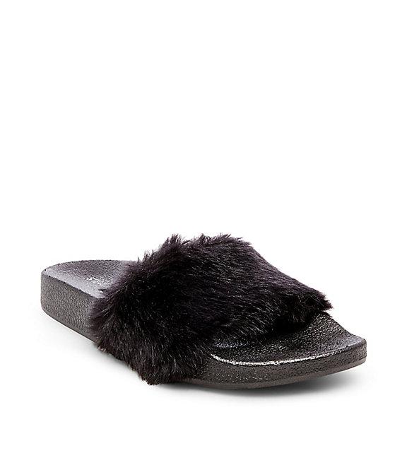 Steve Madden Fur Slides - $49.95