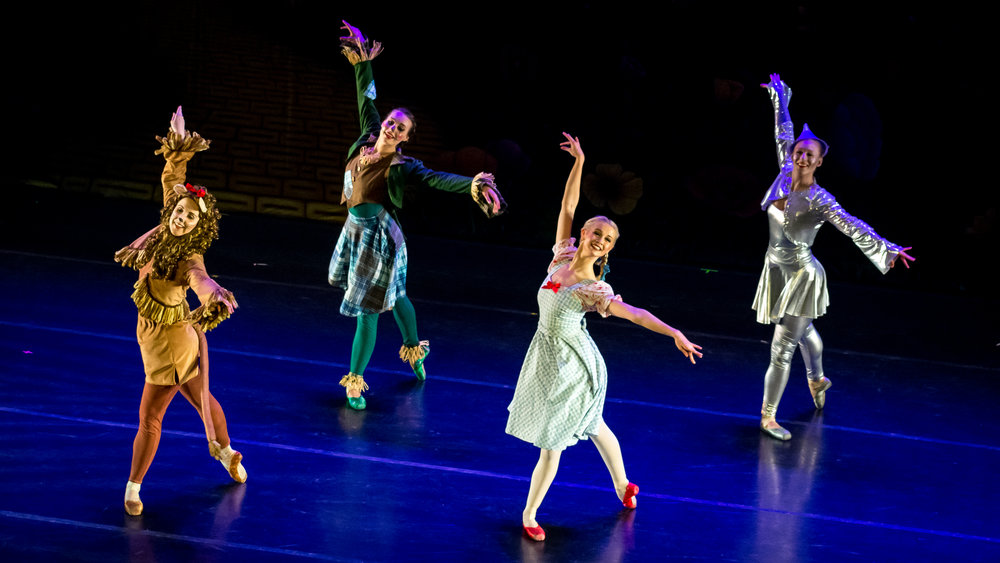 Liz Grande, Katy Clay, Madison Case, and Rachel Dart in Stavna Ballet's production of The Wizard of Oz at the Modlin Center for the Arts.