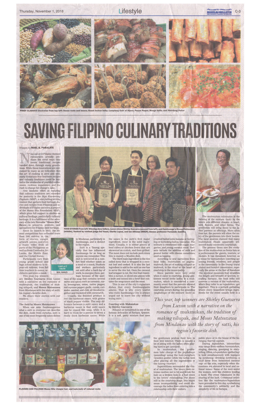 2018-11-01 - Manila Bulletin - Saving Filipino Culinary Traditions.jpg