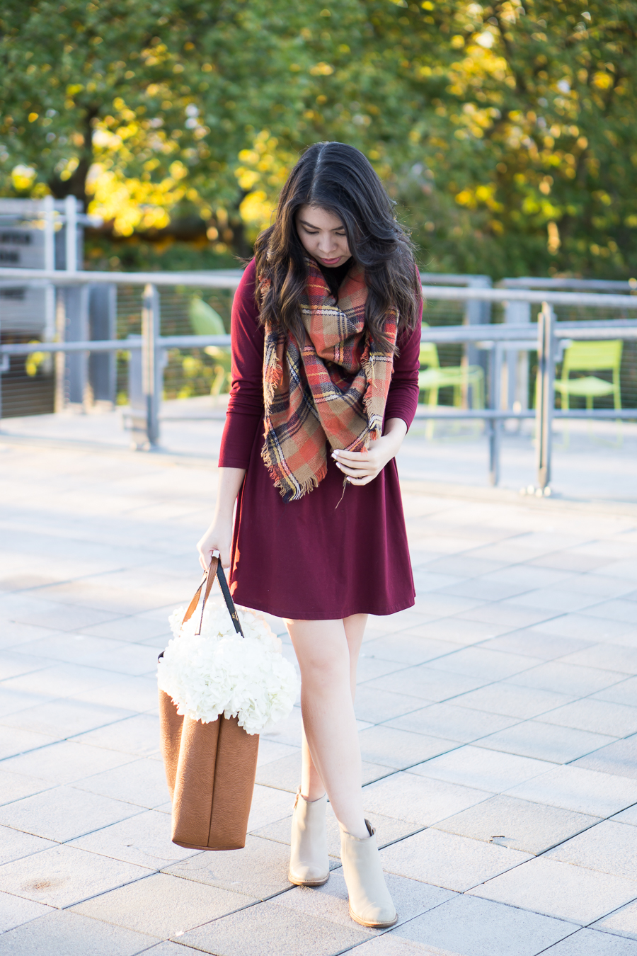 justatinabit-fall-outfit-shein-burgundy-dress-nordstrom-bp-autumn-plaid-scarf-hush-puppies-booties-dress-with-booties-outfit-petite-fashion-blog-1.jpg