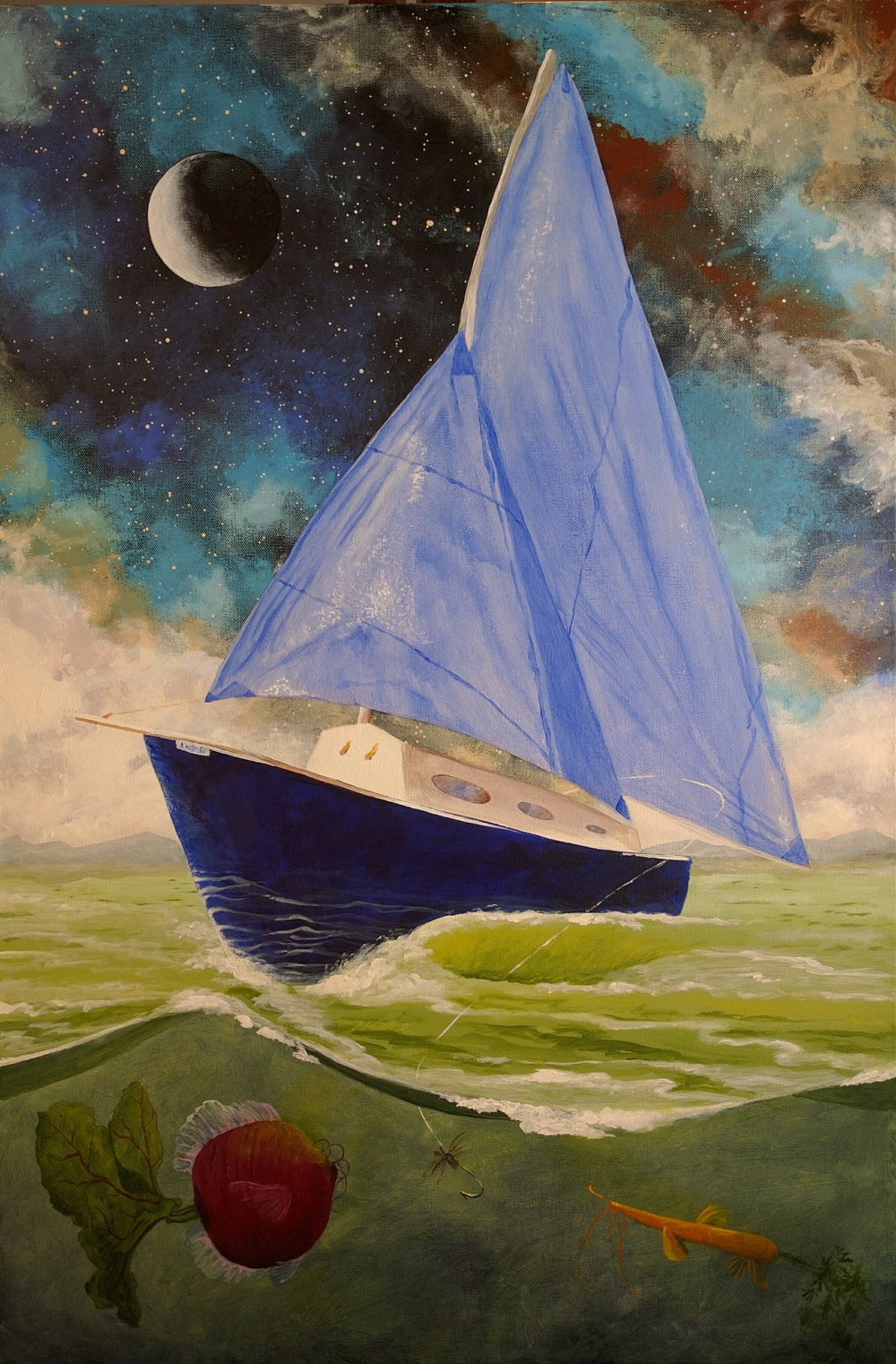 - Odyssey, 2016, Acrylic, 24 x 26My father passed away too early in life at the age of 65. He was the most courageous and unlimited person I have know. He pursued his interests without fear of judgment or an ounce of embarrassment. After his death I decided to paint an epic portrait of the boat he built by hand combined with his other hobbies, which were: fly fishing, fly tying, gardening, and astronomy.