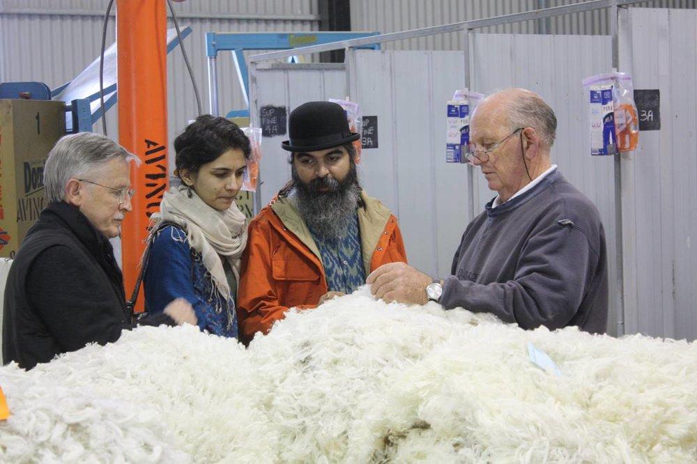Experiencing shearing at Avington: Noel Henderson, Svetlana Dhir, Suket Dhir, Frank Bates (Avington wool classer).
