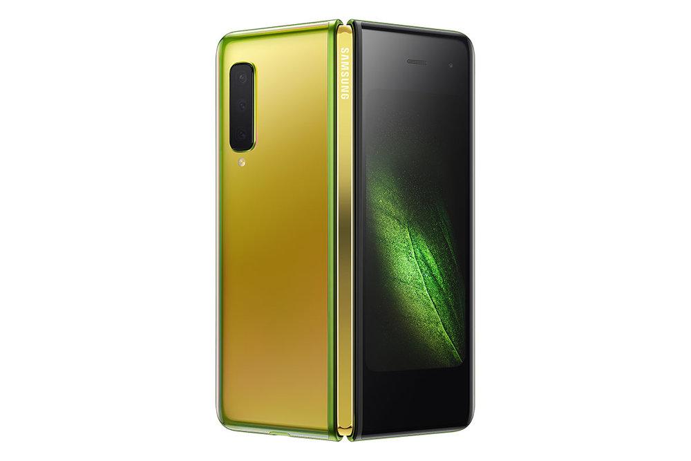 Samsung Galaxy Fold สำหรับ AT&T สีตัวเครื่อง Martian Green และสีบานพับ Gold