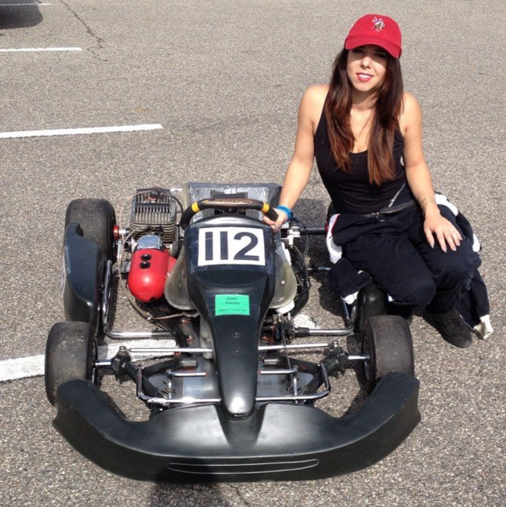 Me and my kart   Being a Woman in the race world its all about showing what your made of but still being true to yourself. And so I felt racing would be the perfect inspiration for this collection.