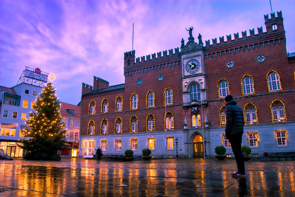 Odense city hall and Christmas tree, finally bright in Christmas lights.. Nikon D200 - HDR