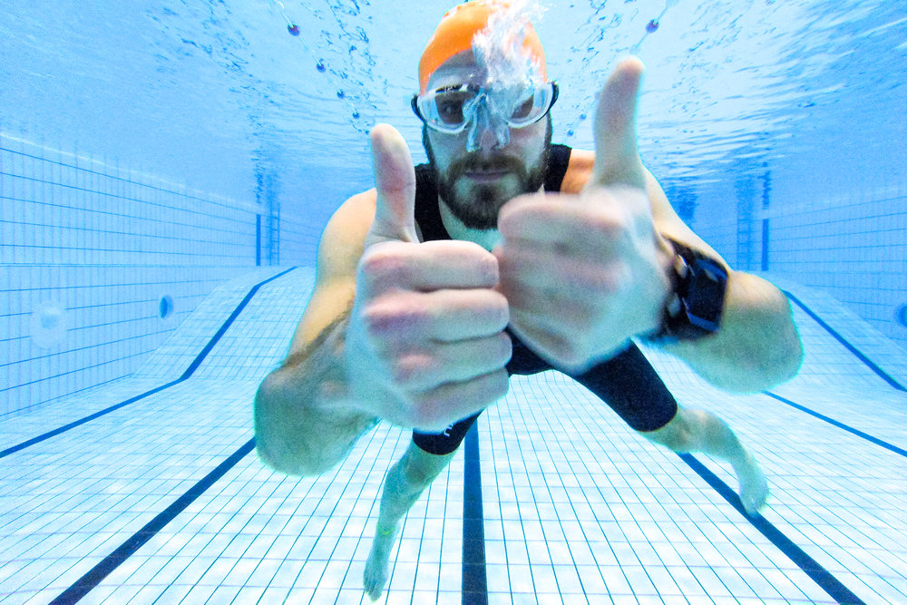 Thumbs up for the good swim session. GoPro Session 4