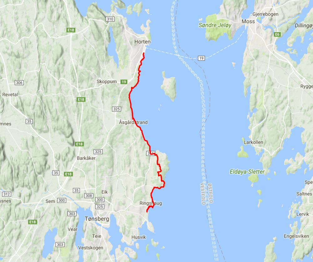 Map - The running route is from Horten to Tønsberg, in various types of terrain.