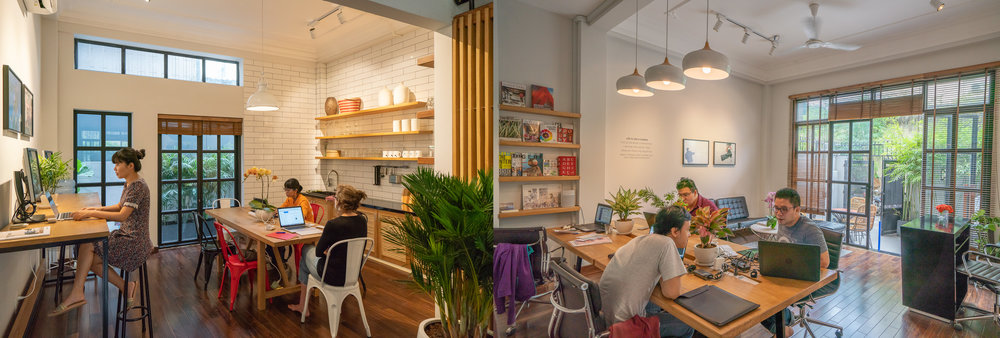 Qamera's unique office and co-working space in central Saigon. Stop by for an iced coffee!