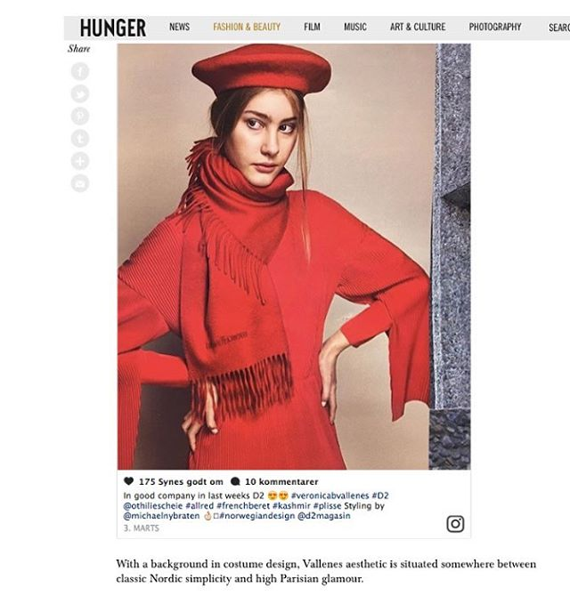 Thank you @hungermagazine ✨✨ Seven emerging scandi brands to bookmark this season 🎉#veronicabvallenes #hungertv #scandinaviandesign @othiliescheie @d2magasin