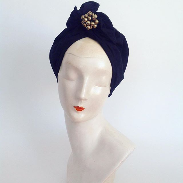 The 'Carrie' Long Twist top #turban. Black cotton with detachable gold bauble detail. $189 + postage and handling. Only 1 available. See bio for website link. #turban #theurbanturbanista #vintageheadwear #vintagestyle #decostyle #headwraps #sustainablefashion