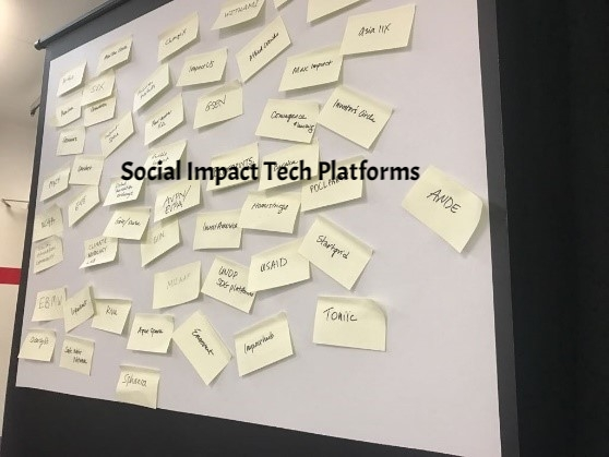 Everyone in the room added a social impact tech platform on a post it and it soon became clear there are lots... and lots...