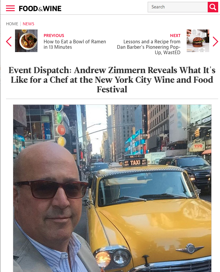 Food & Wine Magazine | Event Dispatch: Andrew Zimmern Reveals What It's Like for a Chef at the New York City Wine and Food Festival