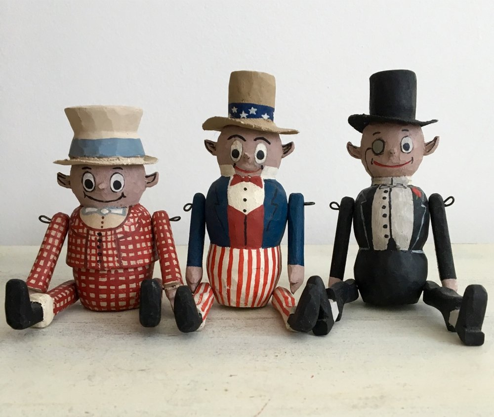 John Bull, Uncle Sam,  Cholly Boutonniere (The Dude)  :   To add these to your collection, email us from the contact page.