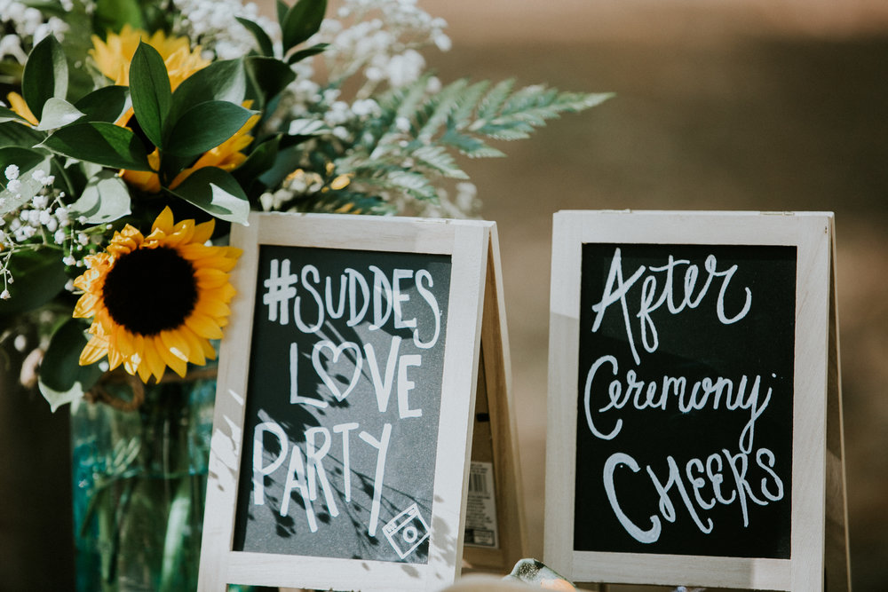 Wedding flowers and signs