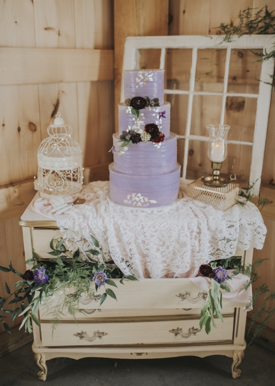 lavender wedding cake with gold flakes