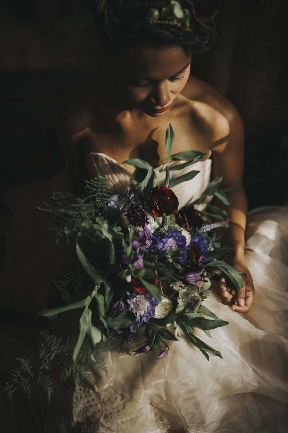 bride with her ethereal wedding bouquet