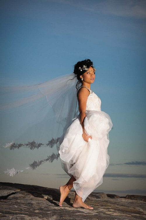 Bride with veil, gown and head piece