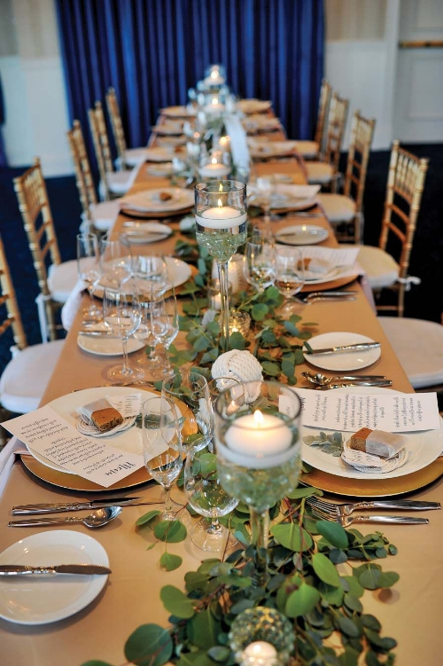 wedding table scape and greenery