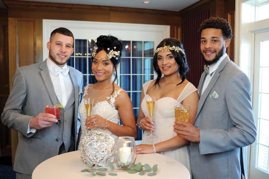 bride, groom, maid of honor, best man
