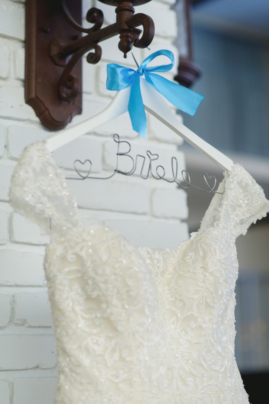 Wedding dress and bride hanger