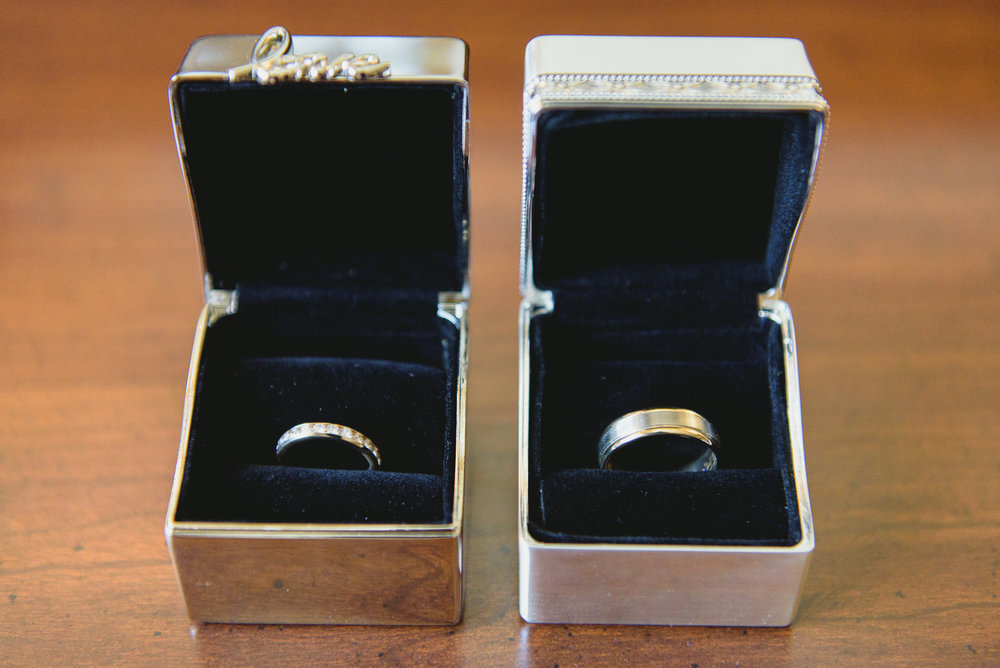 Wedding rings and boxes - pearl weddings