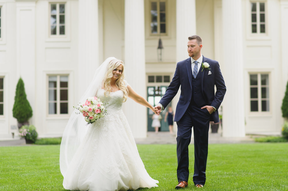 Bride and Groom at the Wadsworth Mansion - Pearl Weddings & Events