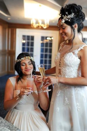 Bride & Maid of Honor cheers! - Pearl Weddings & Events