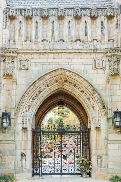 The beautiful Harkness Tower at Yale University Campus decorated for an elopement! - Pearl Weddings & Events