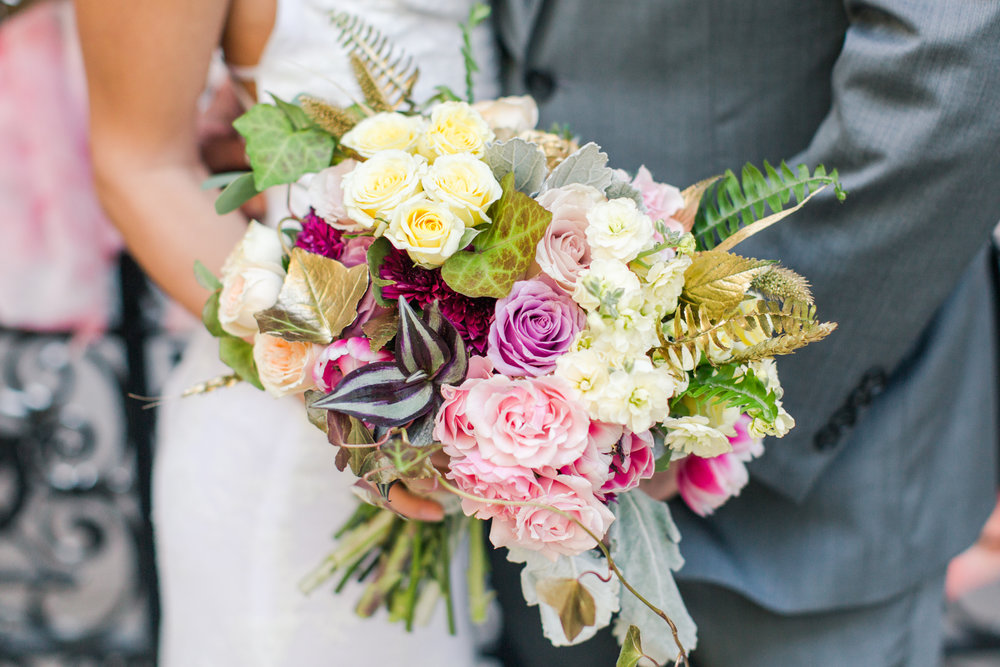 Yale University Wedding - Yellow, pink, gold, green bridal bouquet. Pearl Weddings & Events.