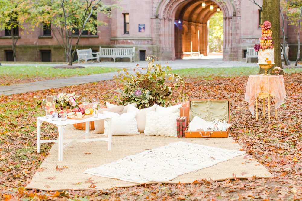 Fall wedding - Boho/Vintage Lounge area with macaroon wedding cake! Color scheme | pink, yellow, orange. Pearl Weddings & Events