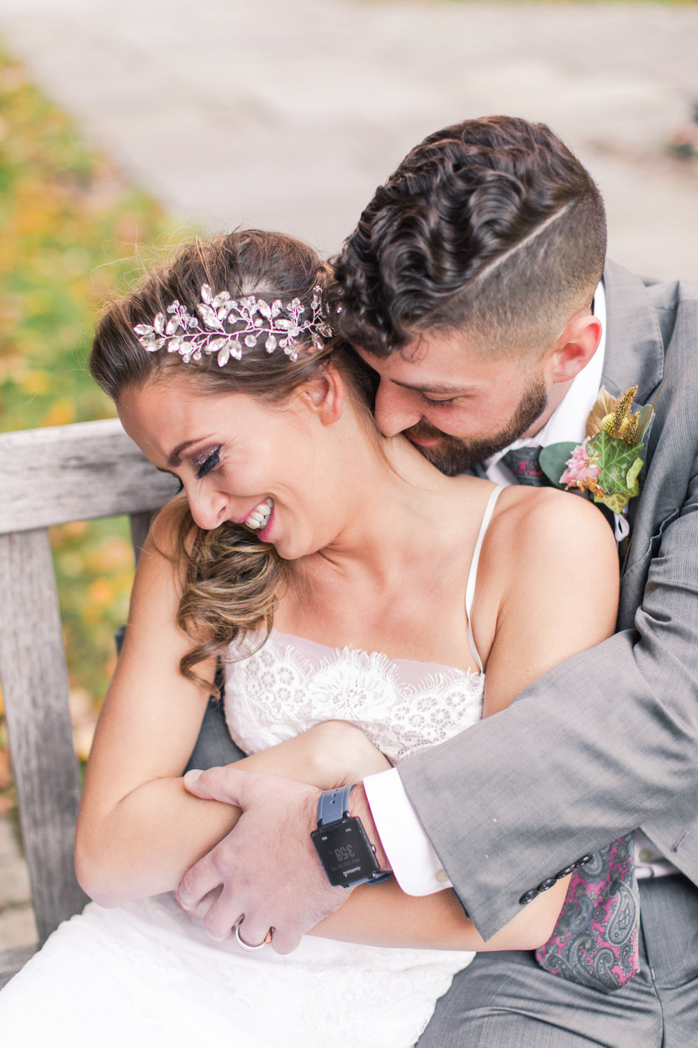 cute bride and groom photos of snuggle time! So cute. Pearl Weddings and Events
