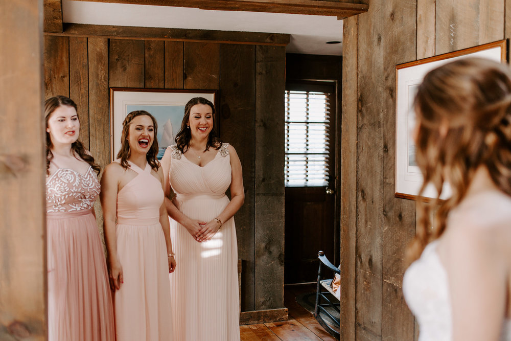When you bridesmaids first see you! I love this first look with your girls. Mind & Patricks wedding at The Lace Factory - Pearl Weddings & Events