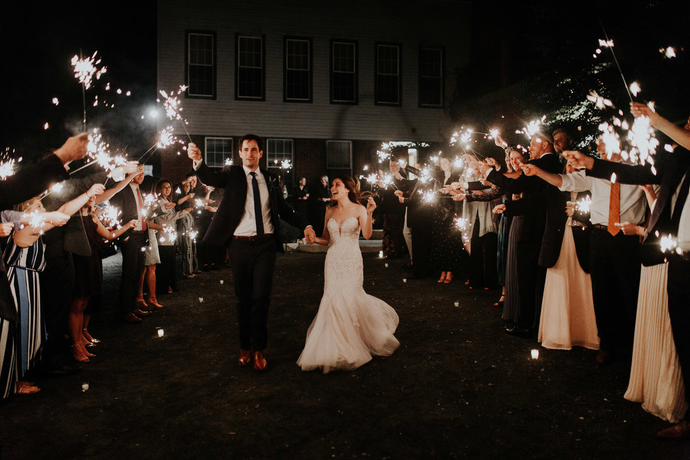 Sparkler exit for the bride and groom! - Pearl Weddings & Events