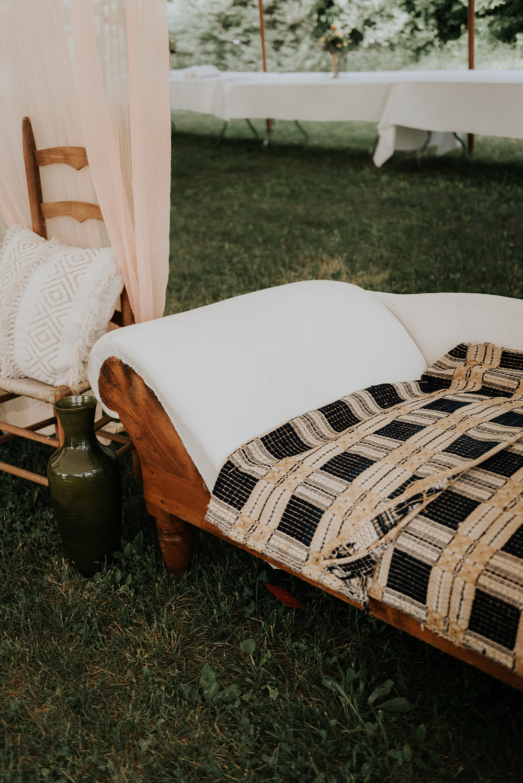 Wedding hookah lounge at a boho wedding on a farm - Pearl Weddings & Events