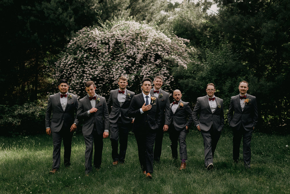 groomsmen in grey suits and red bow ties - Pearl Weddings & Events