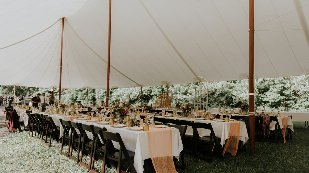 Wedding reception for an outdoor tented wedding in Massachusetts - Pearl Weddings & Events