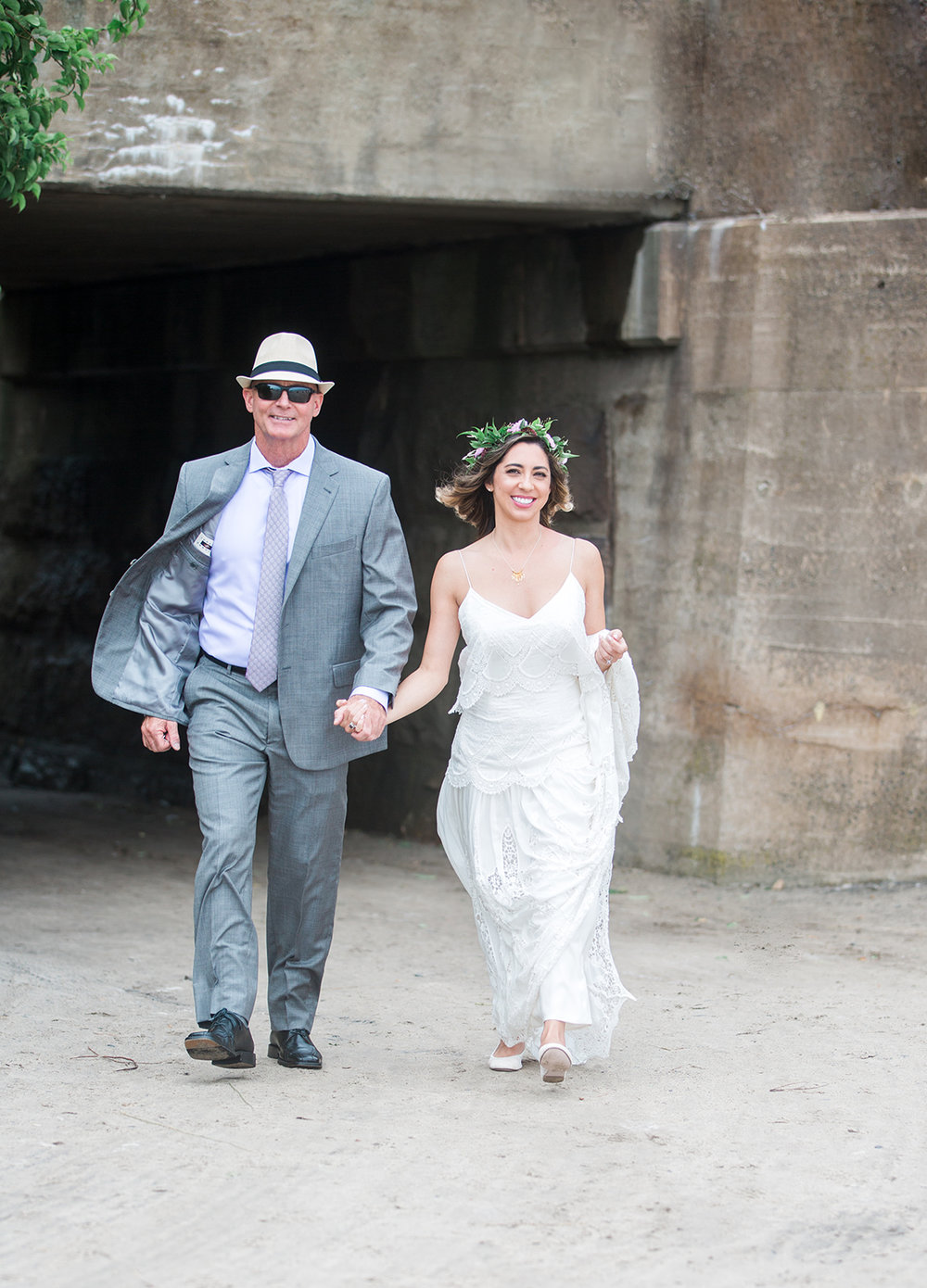 Father of the bride walks bride to her husband to be for first look! - Pearl Weddings & Events