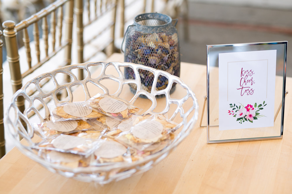 Dried flowers as confetti once the bride and groom a married! - Pearl Weddings & Events