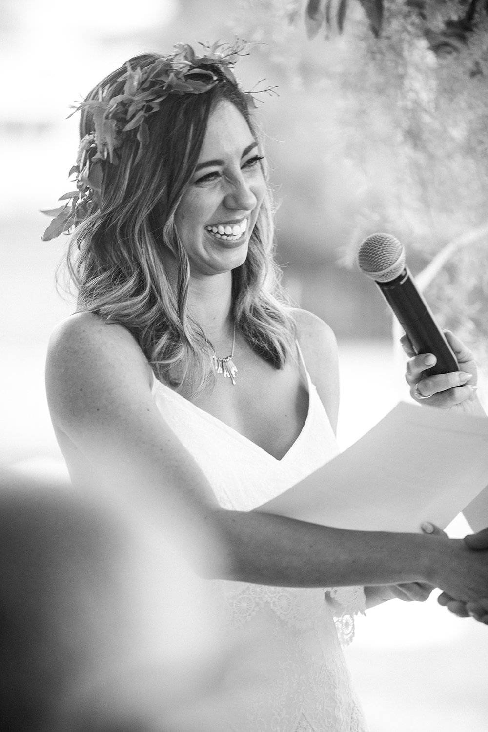 So much love and laughter during the ceremony vows - Pearl Weddings & Events